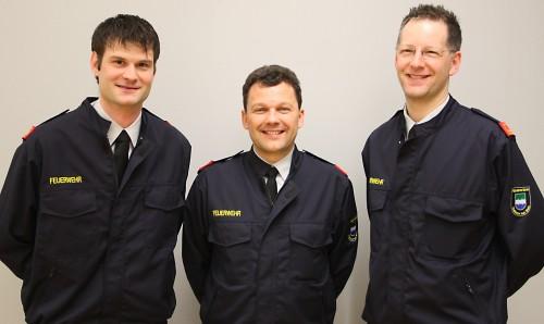 Führungstrio der Feuerwehr März 2014: ABI Ing. Josef Feichtinger (Mitte), HBI Andreas Haidinger (l.) und OBI Wolfgang Denk